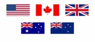 USA, Canada, UK, Aus and NZ flags